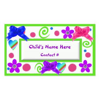 Tarjetas de visita de los niños coloridos