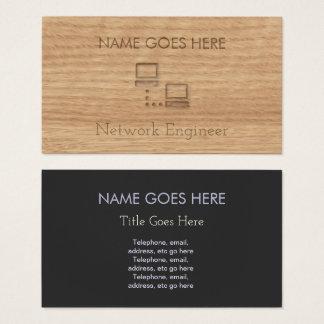Tarjetas de visita de madera del ingeniero de la