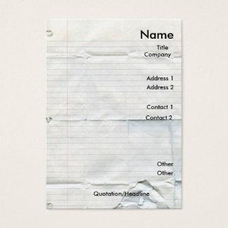 Tarjetas de visita de papel del cuaderno