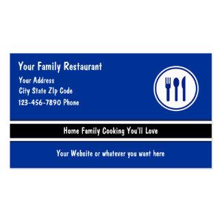 Tarjetas de visita de restaurante de la familia
