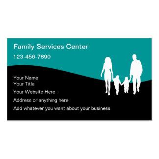 Tarjetas de visita de servicios de la familia