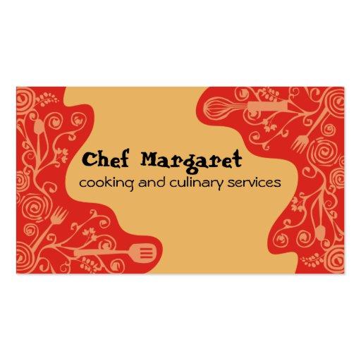 tarjetas de visita decorativas del cocinero de los
