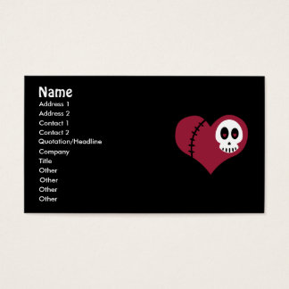 Tarjetas de visita del corazón del cráneo