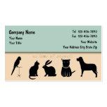 Tarjetas de visita del cuidado de animales de comp