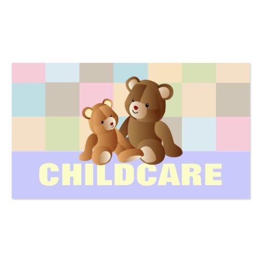 Tarjetas de visita del cuidado de niños