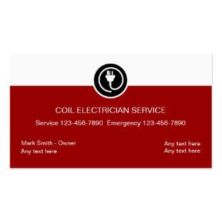 Tarjetas de visita del electricista rojas y