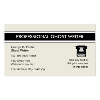 Tarjetas de visita del escritor de fantasma