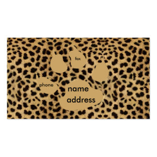 tarjetas de visita del estampado de animales