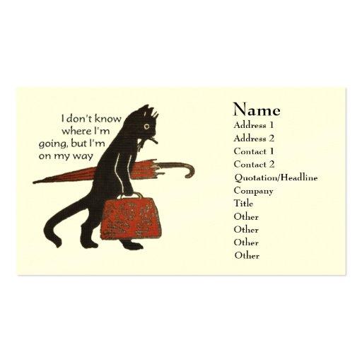 Tarjetas de visita del gato negro del vintage