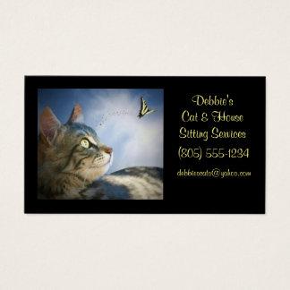 Tarjetas de visita del gato que se sientan y de la