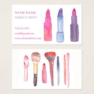 Tarjetas de visita del maquillaje de la acuarela