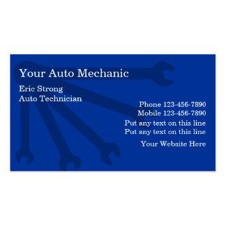 Tarjetas de visita del mecánico de automóviles