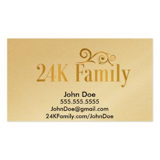 tarjetas de visita del oro de la familia 24K