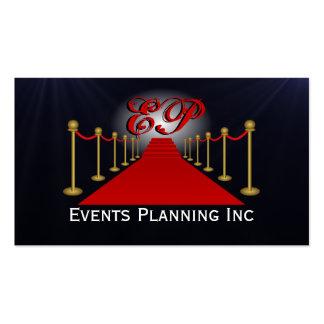 Tarjetas de visita del planificador de acontecimie