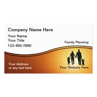 Tarjetas de visita del planificador de la familia
