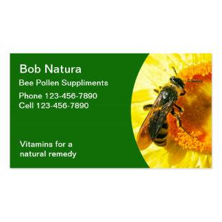 Tarjetas de visita del polen de la abeja