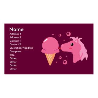 Tarjetas de visita del potro del helado