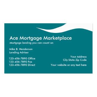 Tarjetas de visita del prestamista hipotecario