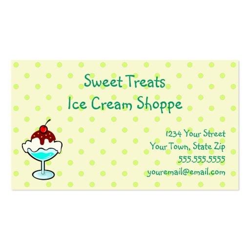 Tarjetas de visita del Shoppe del helado
