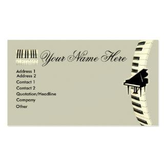 Tarjetas de visita del teclado de piano