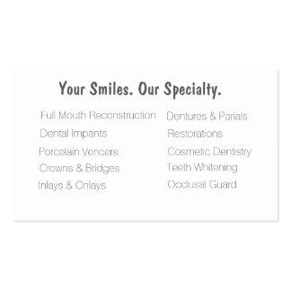 Tarjetas de visita dentales de la clínica