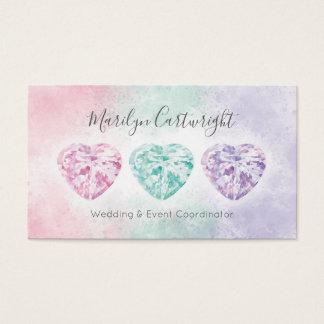 Tarjetas de visita en colores pastel de las gemas