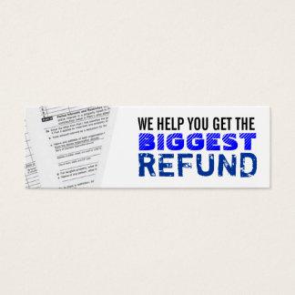 Tarjetas de visita flacas de los impuestos sobre
