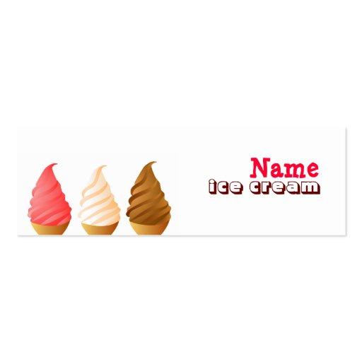 Tarjetas de visita flacas del helado