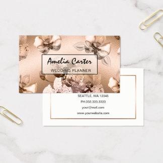 Tarjeta De Visita Tarjetas de visita florales del oro color de rosa