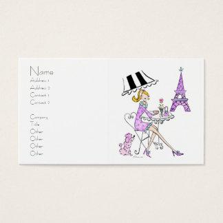 Tarjetas de visita francesas del chica del café