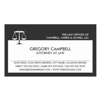 Tarjetas de visita gris oscuro del abogado