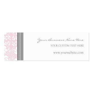 Tarjetas de visita grises rosadas del damasco
