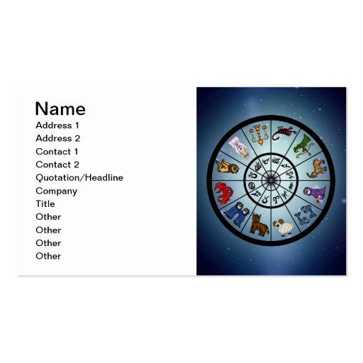 tarjetas de visita lindas de la muestra del zodiac