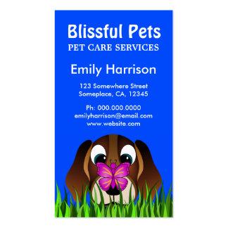 Tarjetas de visita lindas del cuidado de animales