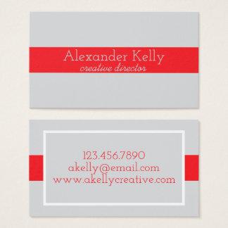 Tarjetas de visita modernas grises y rojas simples