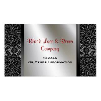 Tarjetas de visita negras de los rosas del cordón
