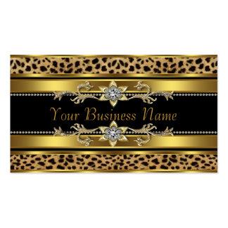 Tarjetas de visita negras del leopardo del oro