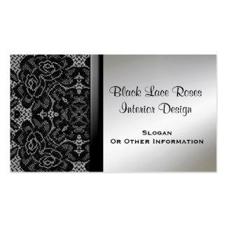 Tarjetas de visita negras elegantes del cordón