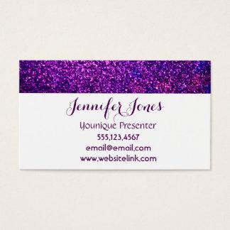 tarjetas de visita púrpuras del brillo