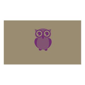 Tarjetas de visita púrpuras del búho