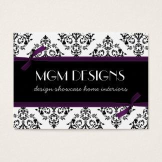 tarjetas de visita púrpuras del damasco