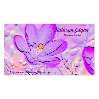 Tarjetas de visita púrpuras grabadas en relieve de
