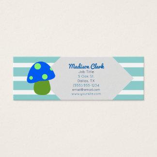 Tarjetas de visita rayadas de la seta azul linda