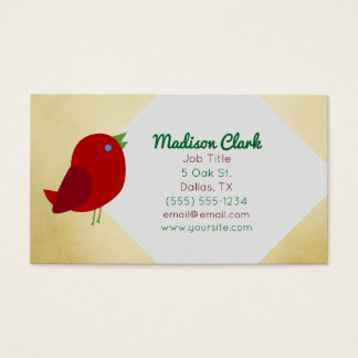 Tarjetas de visita rojas del pájaro