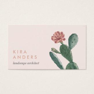 Tarjetas de visita rosadas del cactus del vintage
