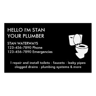 Tarjetas de visita simples del fontanero