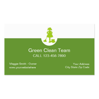 Tarjetas de visita verdes de la limpieza
