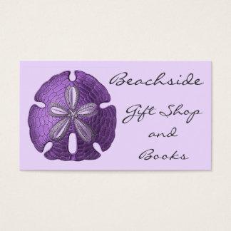 Tarjetas de visita violetas del dólar de arena