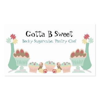 Tarjetas de visitas dulces deliciosas del chef de