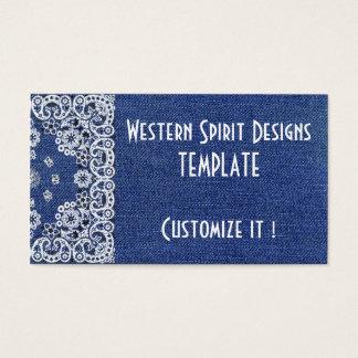 Tarjetas de visitas occidentales del tejano azul